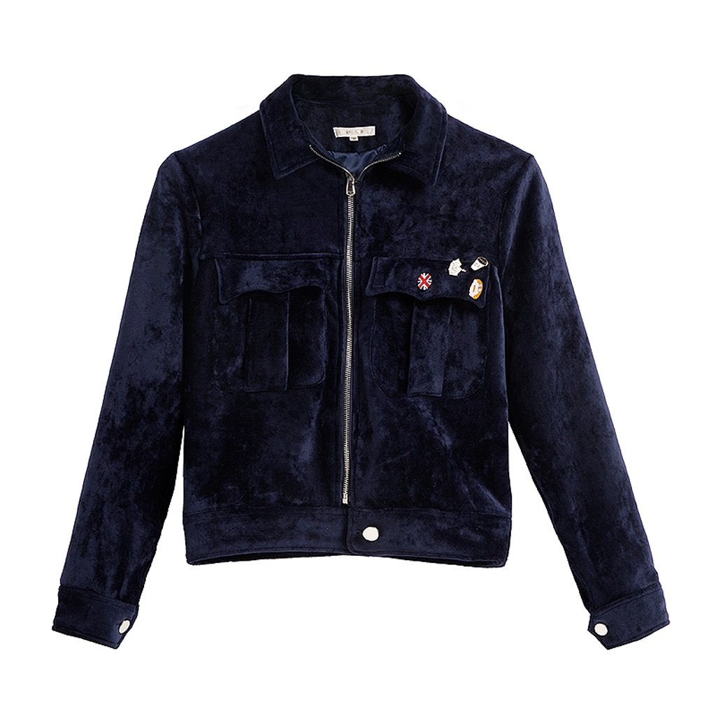 LI SHI XIANG SHOP Autumn short coat female Hong Kong style jacket shirt baseball clothing (Color : Blue, Size : M) by LI SHI XIANG SHOP (Image #1)