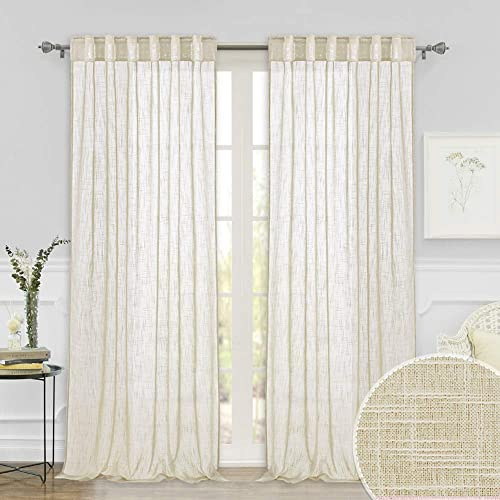 Extra Long Sheer Curtain Drapes – Linen Texture Fabric Vertical Wrinkle Free Semi Voile for Sliding Glass Door Hotel High Ceiling Window Living Room Sunroom, Warm Beige, 52 x 108-inches Long, 1 Pair