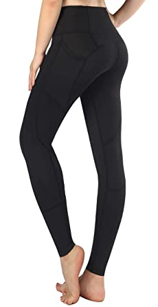Munvot Legging Sport Femme avec Poches Collants Fitness Jogging Running  Pantalon Noir Taille Haute e26ab330a62