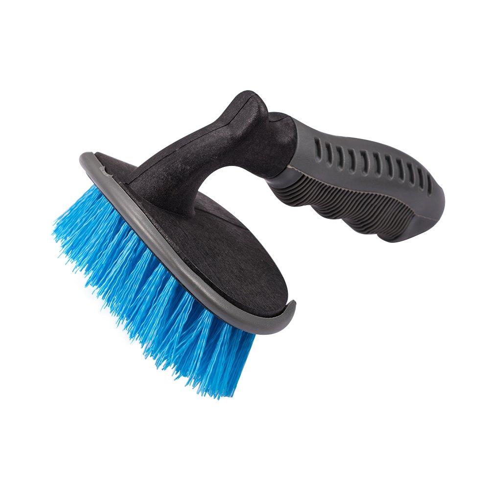 Jscarlife Jante de roue de voiture et brosse/incurvé e Brosse de nettoyage pour Cravate Auto Moto Roue de vé lo Home Outil de nettoyage Bleu