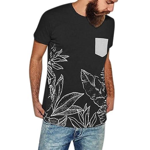 44968ea85 Pandaie Mens Blouse Shirts Men's Slim Splice Stripe Printed Casual Fashion  Lapel Short Sleeve Shirt Black