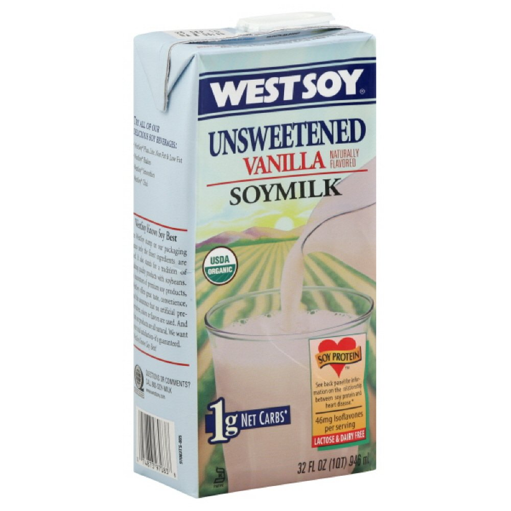 Westsoy Vanilla Soy Milk Organic Unsweetened, 32-ounces (Pack of6)