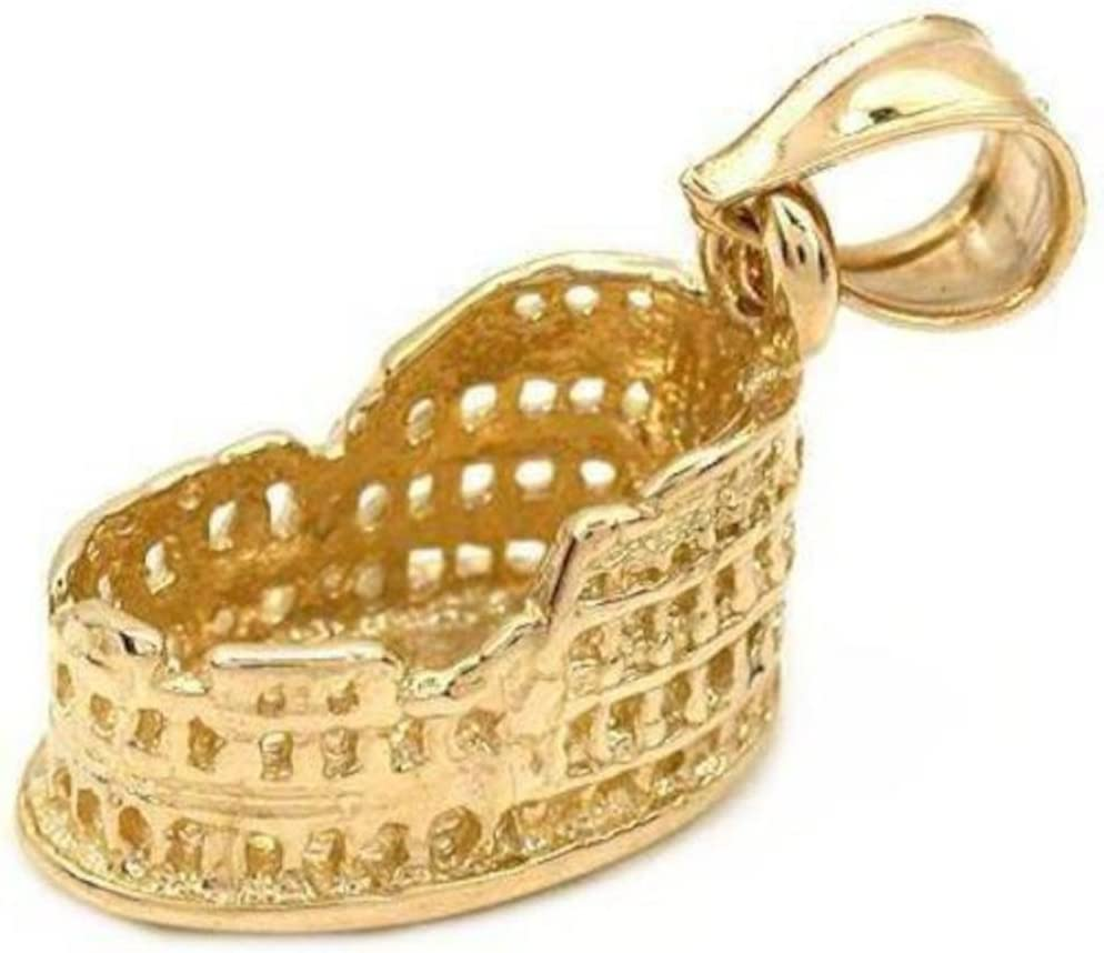 New 14k Yellow Gold Roman Colosseum Charm Pendant
