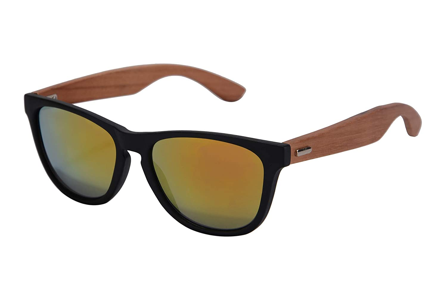 SHINU Real Bamboo Wooden Arms Sunglasses for Men or Women