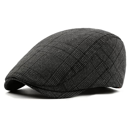 10be3bb835b ZLSLZ Mens Tweed British Woolen Newsboy Paperboy Cabbie Gatsby Cap Hat for  Men (BLACK1)