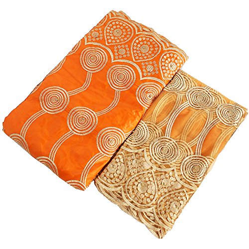 African Advanced Lace Fabric Bazin Riche Getzner Fabric Embroidery French Nigerian Lace Fabric for Wedding 5 + 2 Yards (Orange)