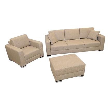Amazon.com: MEBLE FURNITURE & RUGS 3 Pc. Futon Sofa Bed, Queen