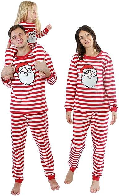 ESHOO Pijamas de Navidad de la familia a juego conjuntos de ropa de dormir de algodón para papá mamá bebé niños