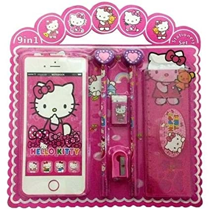 Pack Of 12 Hello Kitty Iphone Shaped Notebook Kids Stationery Set