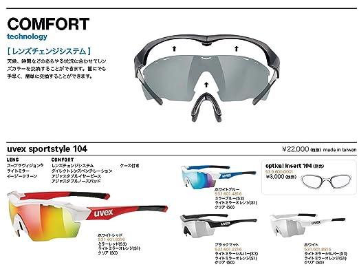 2fc228e17b88 Amazon.com  Uvex Sportstyle 104 Sunglasses White Lt Mir Silver - Clear - Lt  Mir Orange  Sports   Outdoors