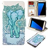 MagicSky S7 edge Case, Samsung Galaxy S7 edge Wallet Case, Premium PU Leather Wristlet Flip Case Cover with Card Slots & Stand for Samsung Galaxy S7 edge, Elephant Pattern