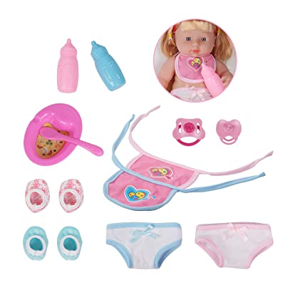 Huang Cheng Toys Doll Accessories 2 Bibs for 12-inch Doll Nursing Bottles Shoes Pacifiers Underwears Plate Spoon: Toys & Games