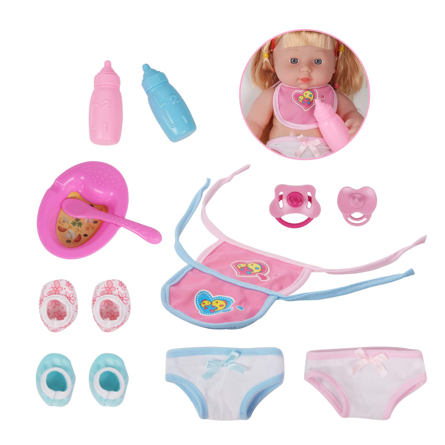 547ee1ca814 Huang Cheng Toys Doll Accessories 2 Bibs for 12-inch Doll Nursing Bottles Shoes  Pacifiers Underwears ...