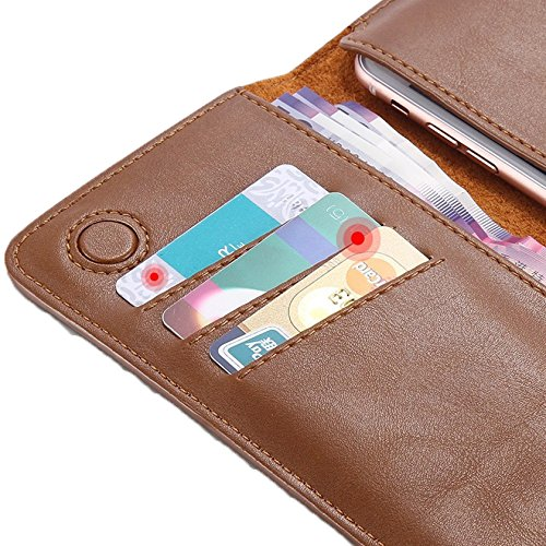 FLOVEME Genuine Leather Wallet Purse Universal Case for iPhone 7 6 6s Plus for Galaxy S7 S6 with Card Slot Full Protective Cover (Dark Brown)