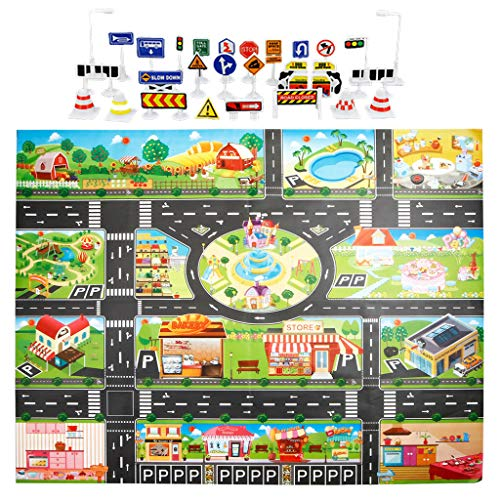 (Samoii Children's Educational Play Mat, City Road Traffic System Buildings Parking Map Game Scene Map Carpet with Traffic Sign)