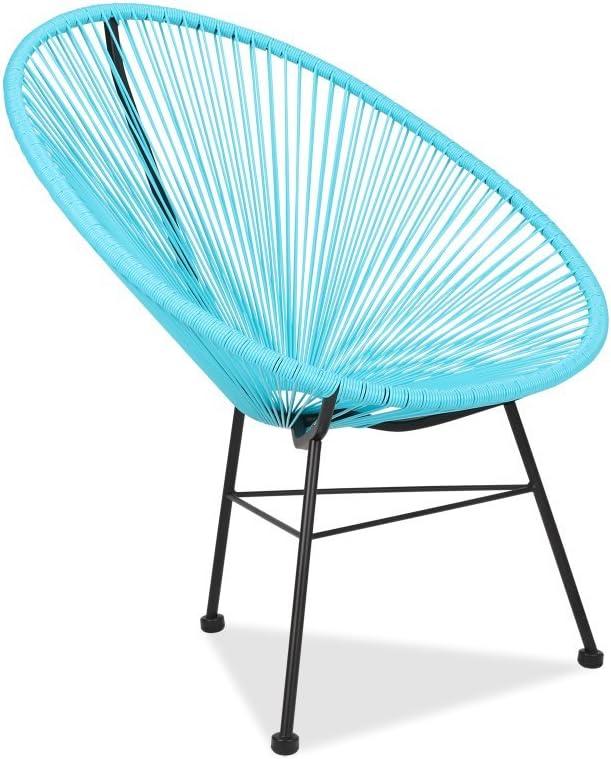 Acapulco silla azul Sillón metálico cuerdas azules para jardín, terraza, balcón, terrado, exterior, hostelería. 1 unidad