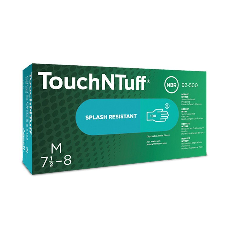 Ansell 105112 Touch N Tuff 92500 5 Mil 9-1/2'' Disposable Nitrile Industrial Gloves, 0.09'' Height, 9.5'' Length, 3'' Wide, Large, Teal (Pack of 100) by Ansell (Image #2)