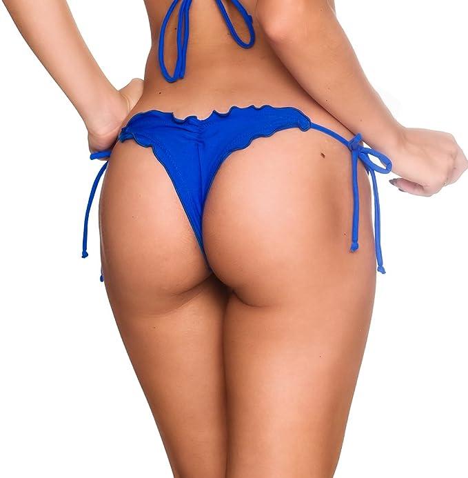 3202442fc5 THE MESH KING Coqueta Swimwear Brazilian Thong Scrunch Bottom Wavy Sexy  Teeny Swimsuit Royal-XL