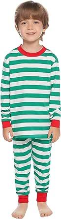 Hawiton Pijama para Niñas,2 Piezas Set Raya Manga Larga Algodón Set Ropa de Dormir para Niños Edades 7-14 años, Ajustado Ceñido Camisones