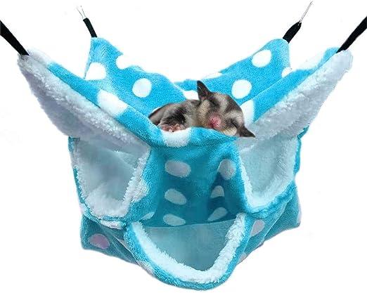 Oncpcare Small Pet Cage Hammock, Triple-Layer Sugar Glider Hammock, Hamster Cage Accessories Bedding Cozy Small Animals Bed for Chinchilla Parrot Sugar Glider Ferrets Rat Hamster Rat Playing Sleeping
