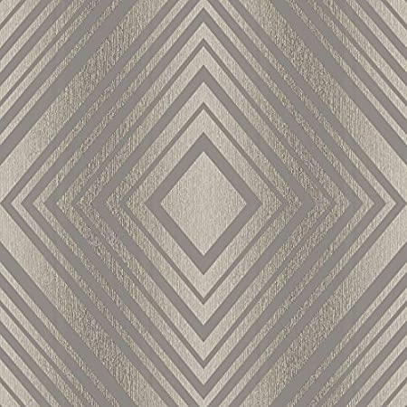 Grandeco Chevron Stripe Pattern Wallpaper Modern Embossed Metallic Glitter Motif Choc A15803
