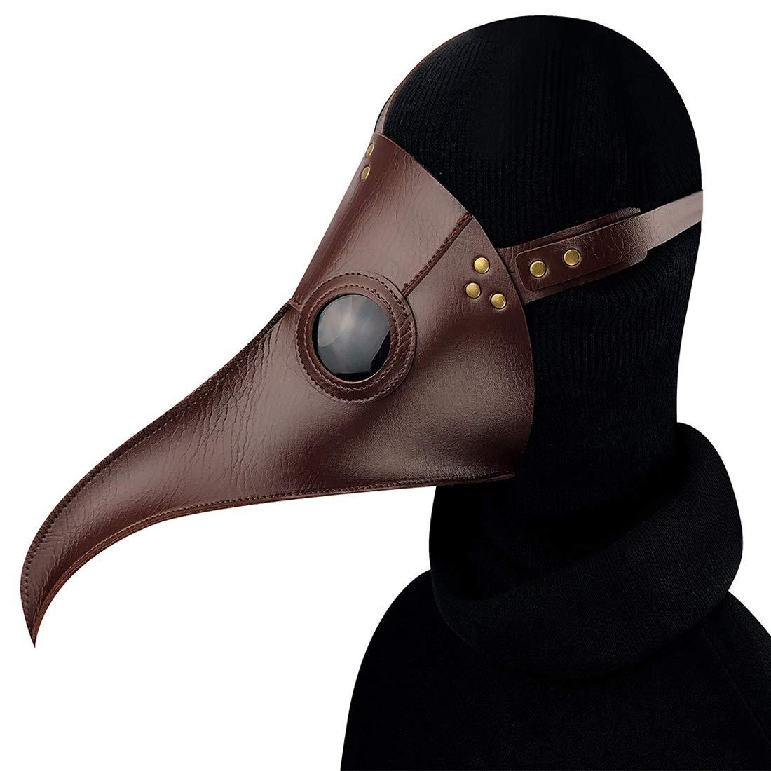 KERVINFENDRIYUN YY4 Braun Cuspirostrisornis Lange Nase Vogel Vogel Vogel Maske Schnabel mittelalterlichen Steampunk Halloween Party Maskerade Kostüm Requisiten 5a9551