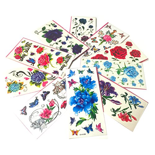 10 pack Flowers Temporary Tattoos Stickers product image