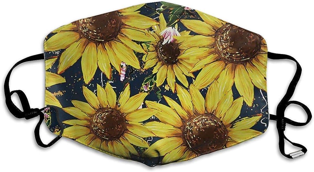 VTYOSQ Cubierta facial de tubo de cobertura completa unisex Bandanas Protección UV Cuello Polaina Diadema, Girasoles Amarillo brillante Acuarela