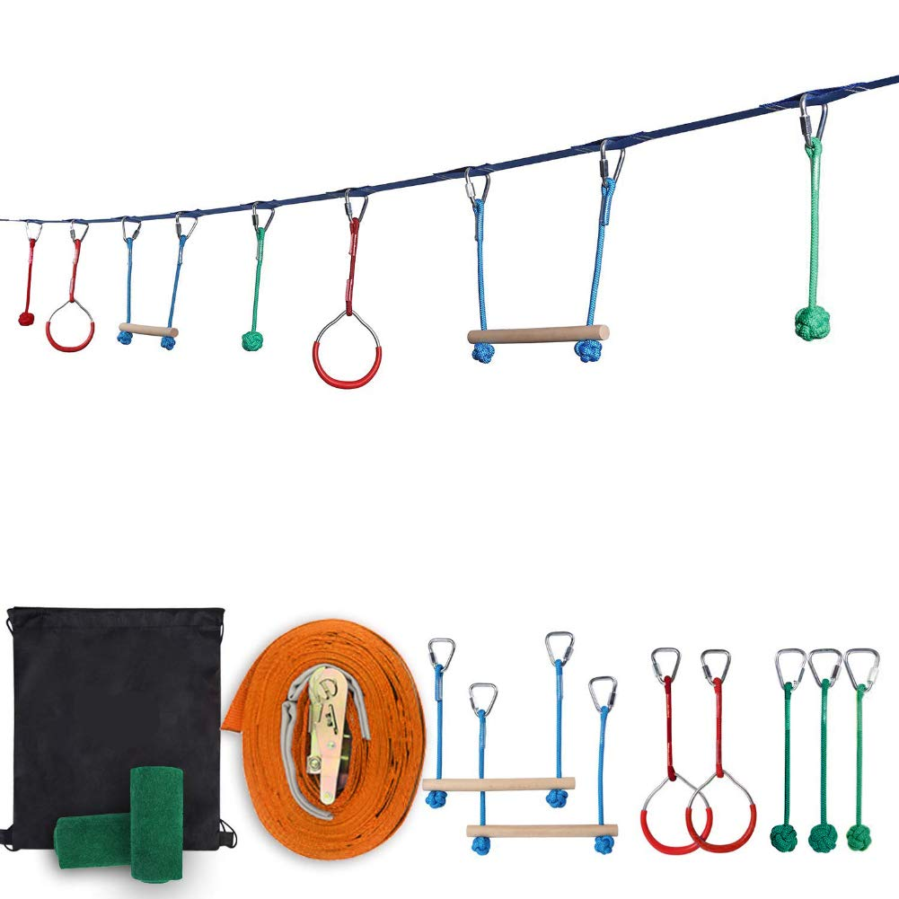 H&ZT 40 Foot Ninja Obstacle Course Kit, Kids Swinging Obstacle Course Set with Bars, Fists, Gym Rings - 440lb Capacity - Storage Bag & Tree Protectors Included (7 Hanging Obstacles) by H&ZT