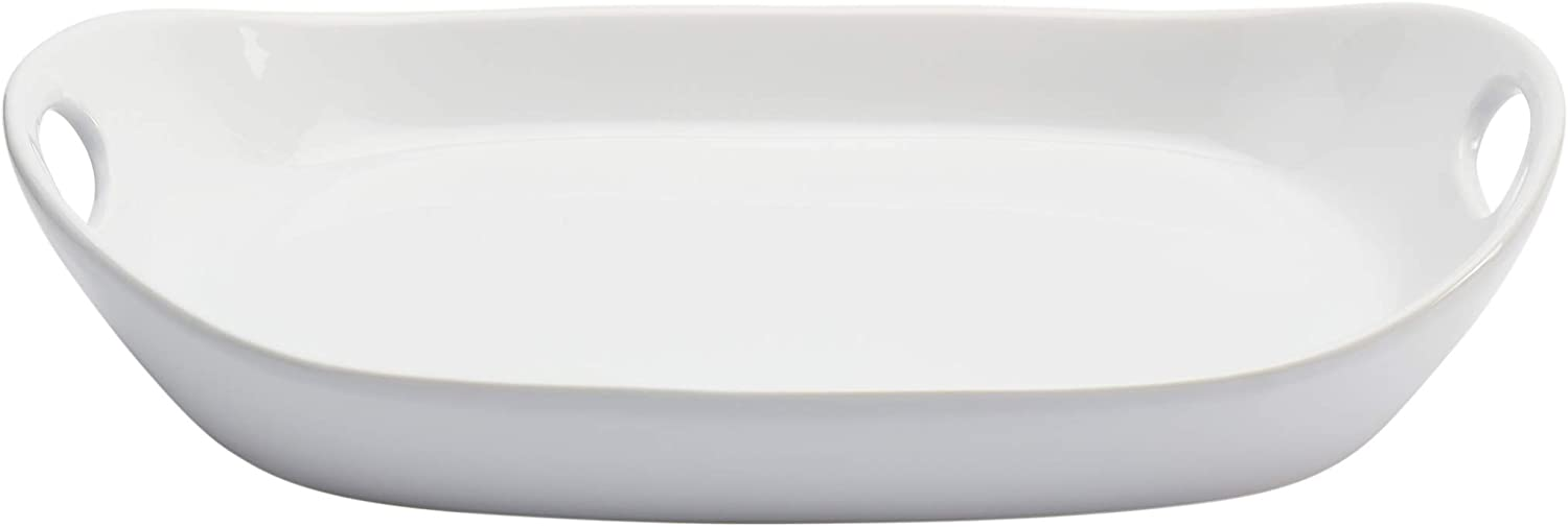 Tabletops Gallery White Durable Stoneware Serving Dishes Platter and Sets with Handles, Large Deep Rectangular Serving Platter