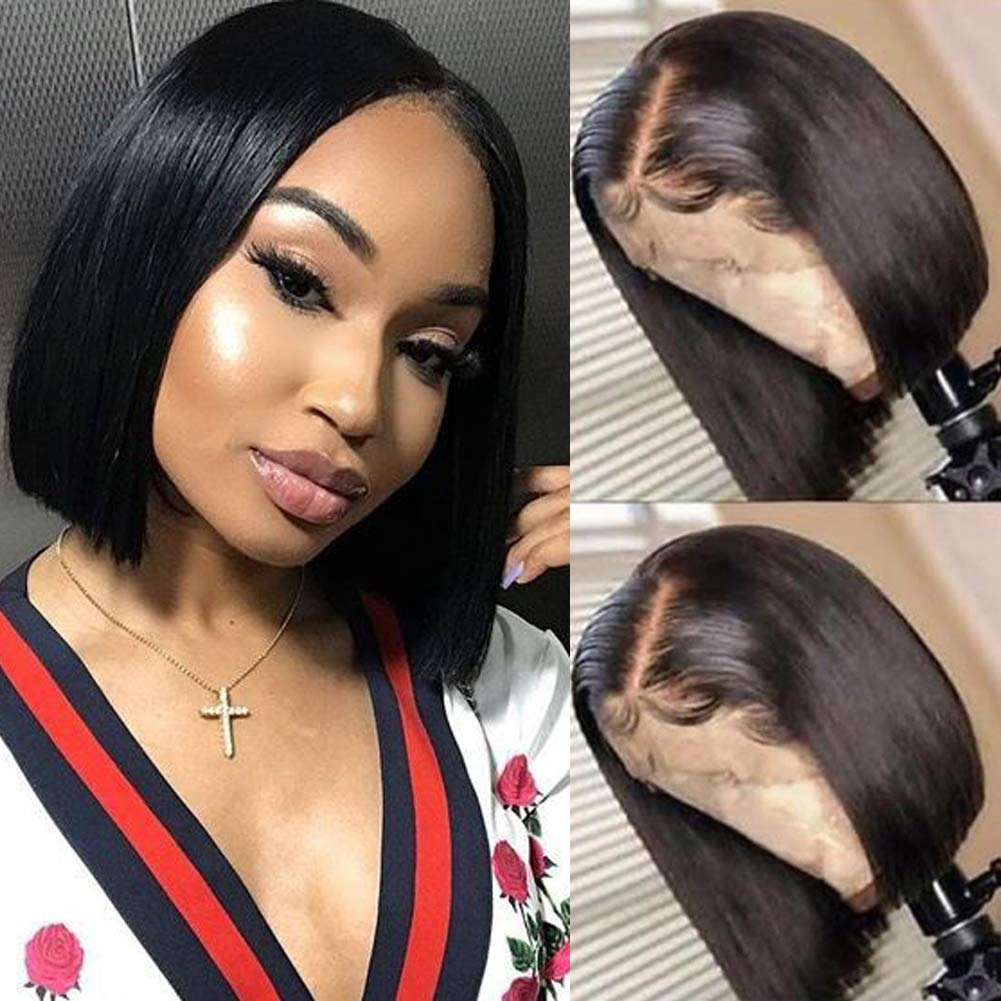 RECOOL 11A Human Hair Bob Wigs for Black Women 11x11 Lace Front Wigs Natural  Color Short Bob Wig Brazilian Straight Hair Wigs Natural Hairline(11 inch