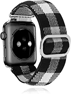 Adjustable Elastic Watch Band Compatible with Apple Watch 38mm 40mm 42mm 44mm,Soft Embroidery Stretch Elastics Wristbelt Replacement Wristband for iWatch Series 6/5/4/3/2/1 With Stainless Steel Buckle