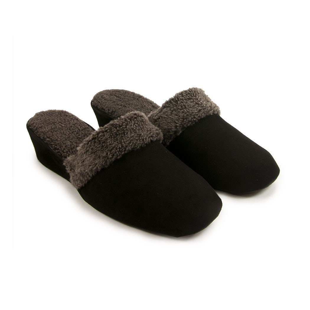 Jacques Levine #9854 Shearling Women's Slippers, 7.5B Black