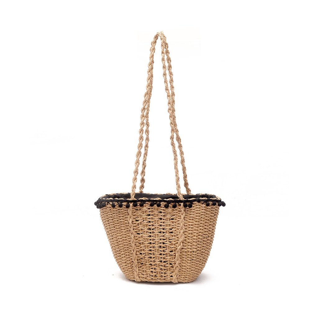 ZCM Bolso de Hombro Señora Woven Straw Simple Casual Retro Style Rattan Beach Bolsillo Hombro Asual Campus Wind Girl Grass Handbag