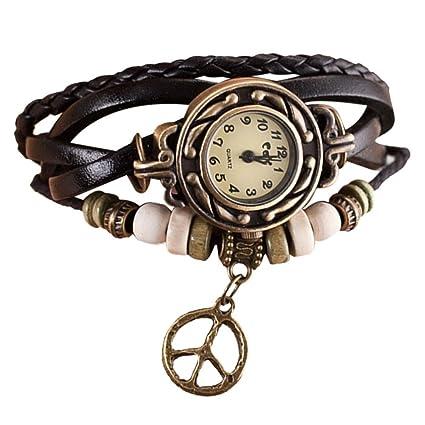 Lookatool® Lady Womens Peace Symbol Quartz Weave Around Leather Bracelet Wrist Watch (Black)