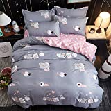 KFZ Bed SET 4pcs Kids Beddingset Duvet Cover Set Duvet Cover No Comforter Flat Bedsheet Pillowcase Twin Sheets Set Naughty Pig Love Cat Dinosaur Family Design (Naughty Pig, Grey, Twin, 59''x79'')