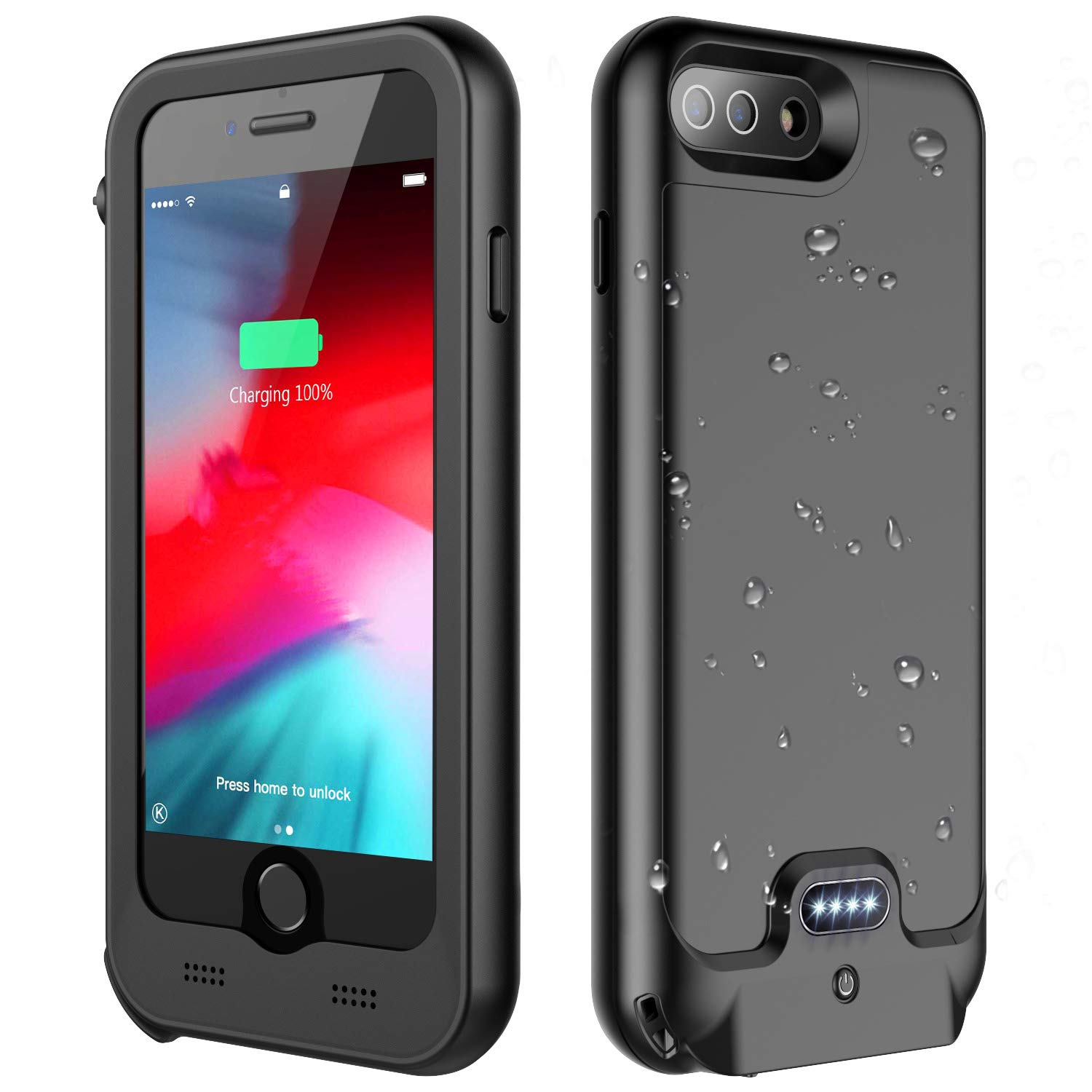 iPhone 7 Plus / 8 Plus Battery Case, ATOP 4800mAh Full-Body Rugged Charger Case with Built-in Screen Protector Compatible QI Wireless Charging IPX5 Waterproof Heavy Duty Shockproof Charging Case