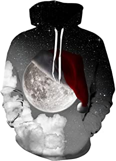 FLYCHEN Mens Digital Print Sweatshirts Hooded Top Galaxy Pattern Hoodie