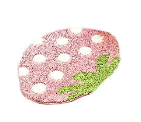 Amazon.com: Little Girls Bedroom Rug Large Pink Strawberry Rug: Home ...