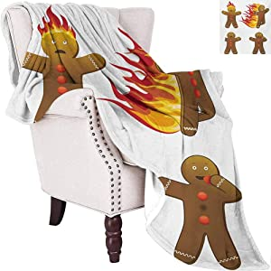 Gingerbread Man Luxury Special Grade Blanket Gingerbread Man in Humorous Positions Caught on Fire Eaten Figures Multi-Purpose use for Sofas etc. W80 x L60 Inch Caramel Red Yellow