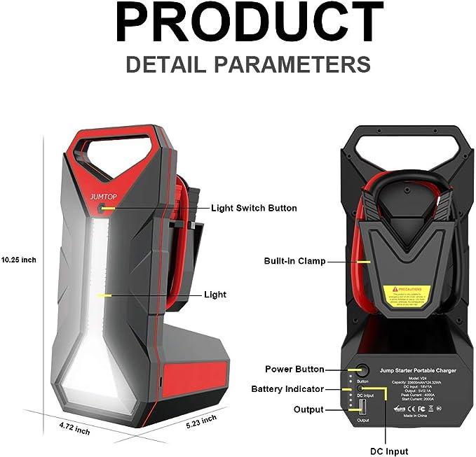Lampe Torche LED et Ports USB JUMTOP 24V D/émarreur de Batterie de Voiture Portable QDSP 4000 A 33600mAh Booster Batterie avec c/âble de Chargement de Type C
