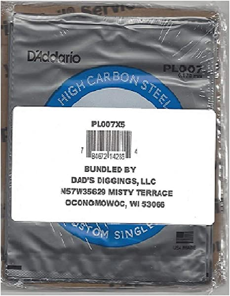 DAddario NYS007 Single Plain Steel Guitar String.007