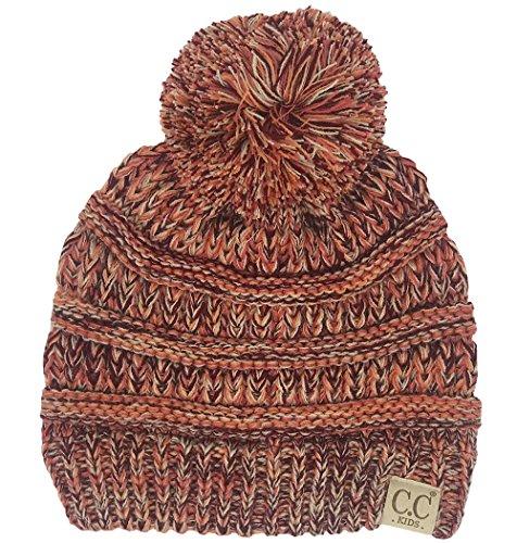 Orange Bow Socks - H-6847-816.52 Girls Winter Hat Warm Knit Slouchy Kids Pom Beanie - Coral #16