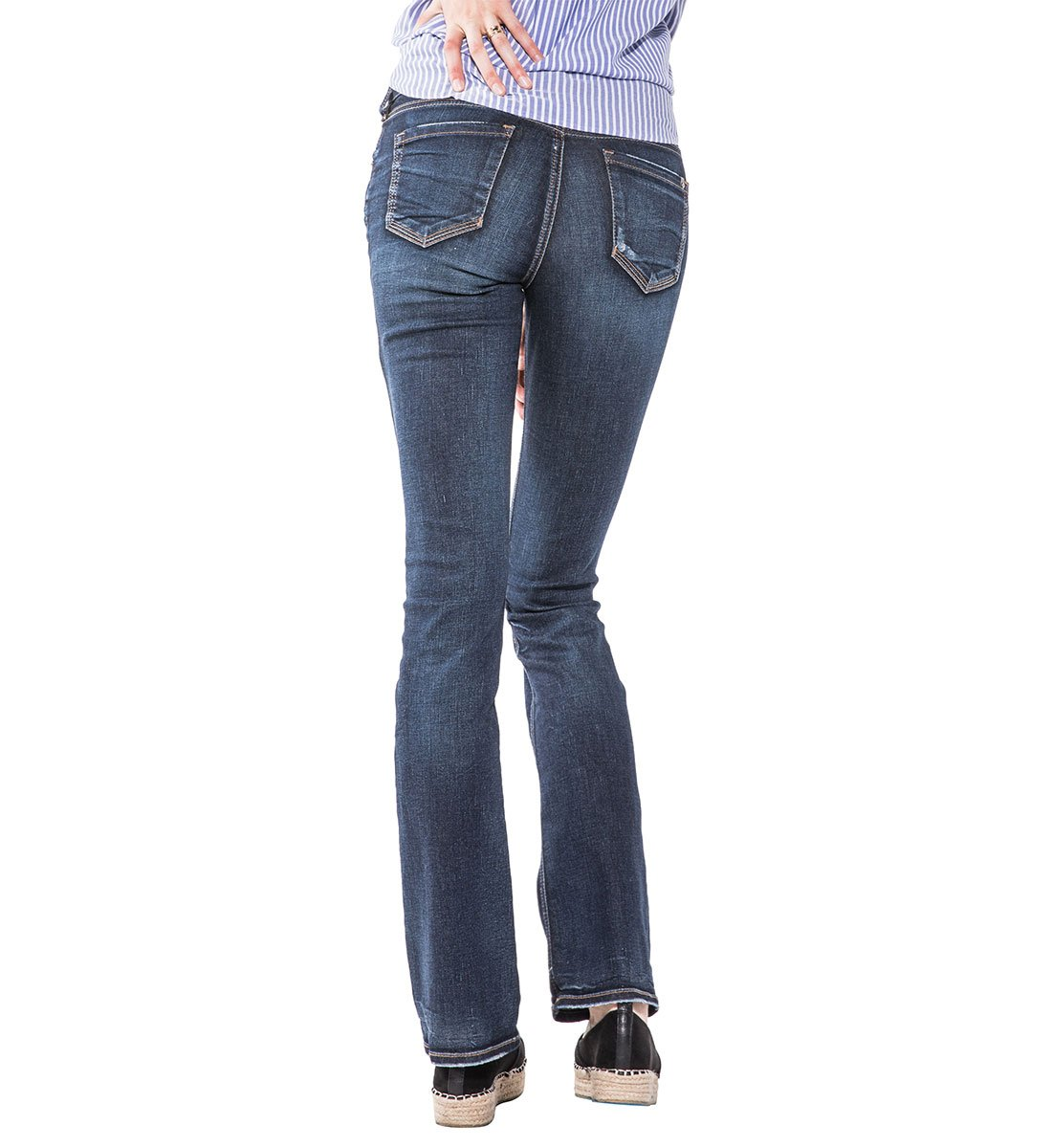 103bdd814d1 Silver Jeans Co. Women s Elyse Relaxed Fit Mid Rise Slim Bootcut Jeans