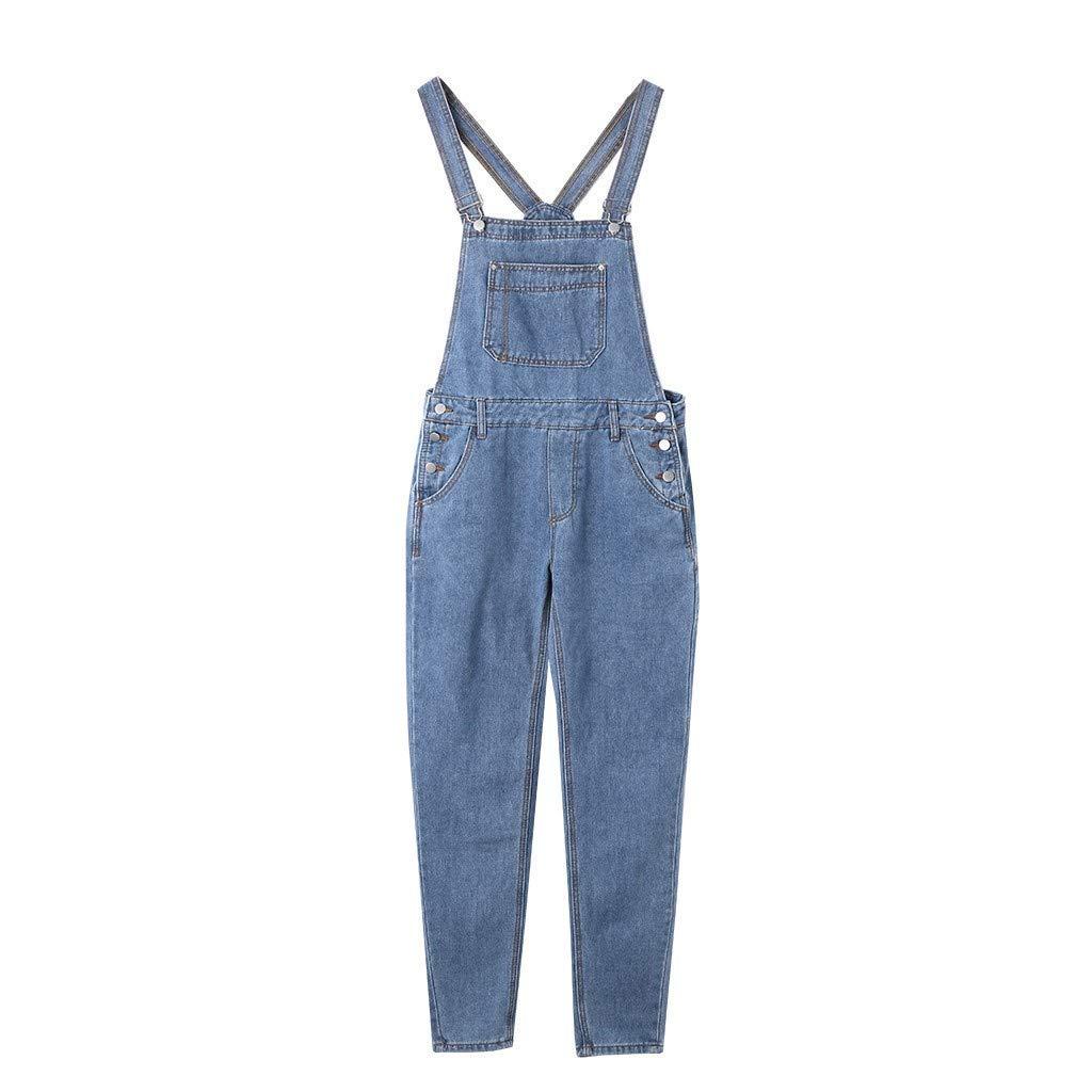 Män overalls jeans krokar tryckknapp byxor modern denim denim byxbyxor raka byxor män mode vintage casual byxor Blå