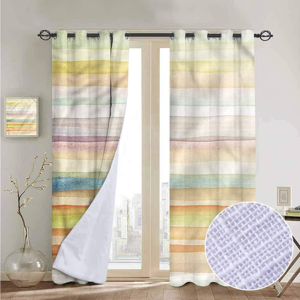 NUOMANAN Blackout Curtains Pastel,Polka Dot with Stripes,for Bedroom,Nursery,Living Room 84x84