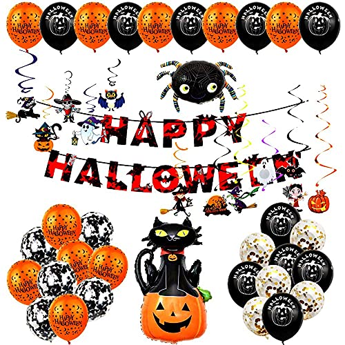 Halloween Balloon Garland Kit, 100 Pcs Black Orange Purple Confetti Balloon Arch with 3D Bats BOO Pumpkin Aluminum Foil Balloons for Kids Halloween Theme Party Background Classroom Decorations
