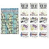 120 MUSIC Success Stickers & 24 Musical Note PENCILS - RECITALS - Teachers - Scrapbooking SUPPLIES - TREBLE Clef - DECORATING - Instruments PIANO etc ARTS & CRAFTS Motivational