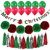 Derhom Merry Christmas Banner Kit - Christmas Party Decorations - 10 Balloons, 6 Pompom Flower Tissue Paper and 15 Paper tassel, Xmas Day Decor Supplies for Christmas Party Home Tree Decorations