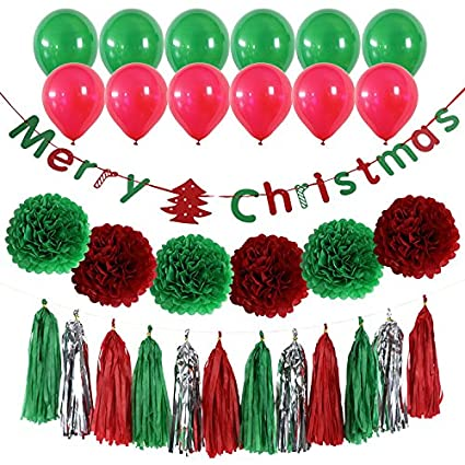 derhom merry christmas banner kit christmas party decorations 10 balloons 6 pompom flower
